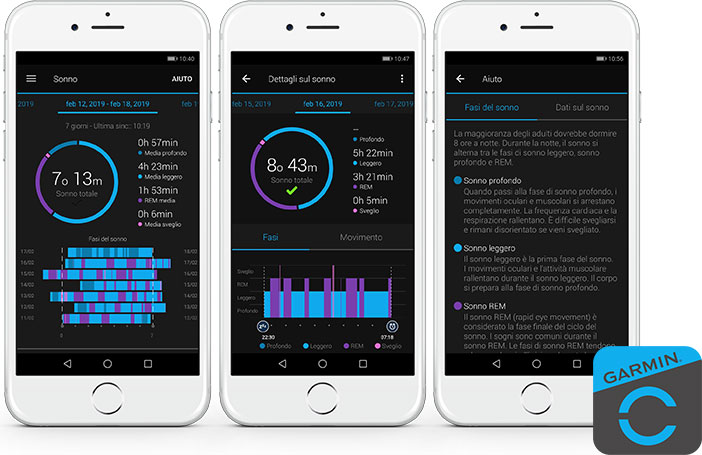 monitoraggio del sonno con garmin connect