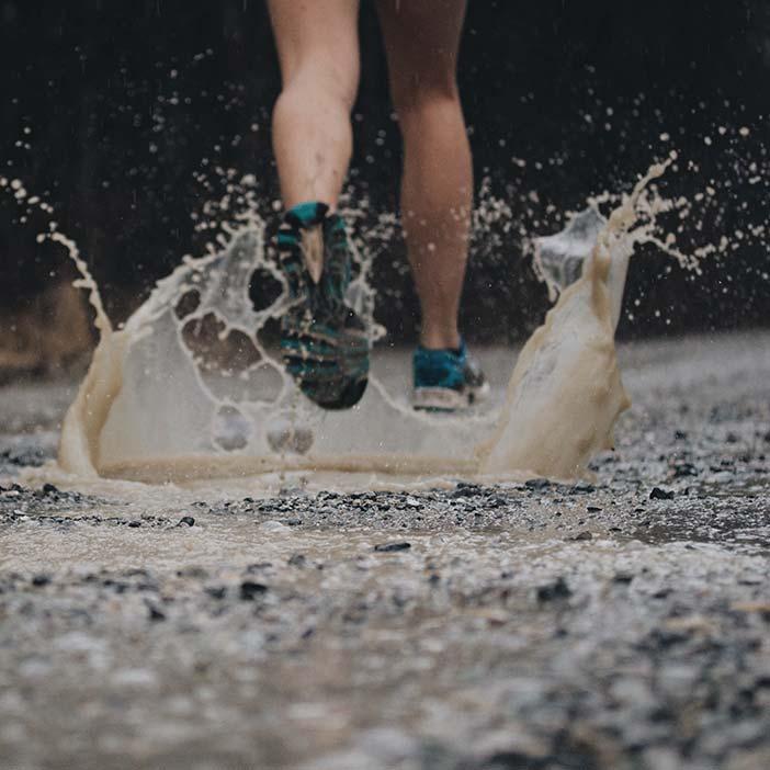 correre con le pozzanghere